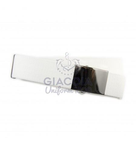 Cintura Bianca Canapa Fibbia Liscia Cromata